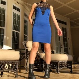 Dresses & Skirts - NEW LACED CHEST BLUE BODYCON DRESS